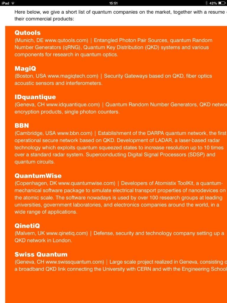 Empresas actuales que ofrecen servicios o productos qbit